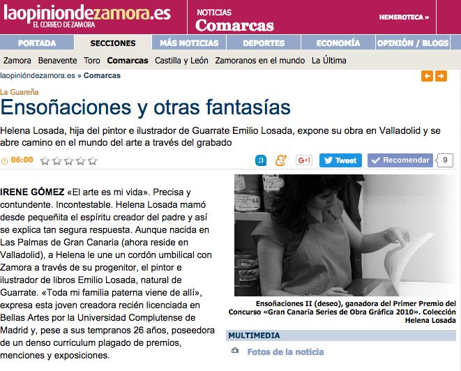 entrevista en el periódico La Opinión de Zamora