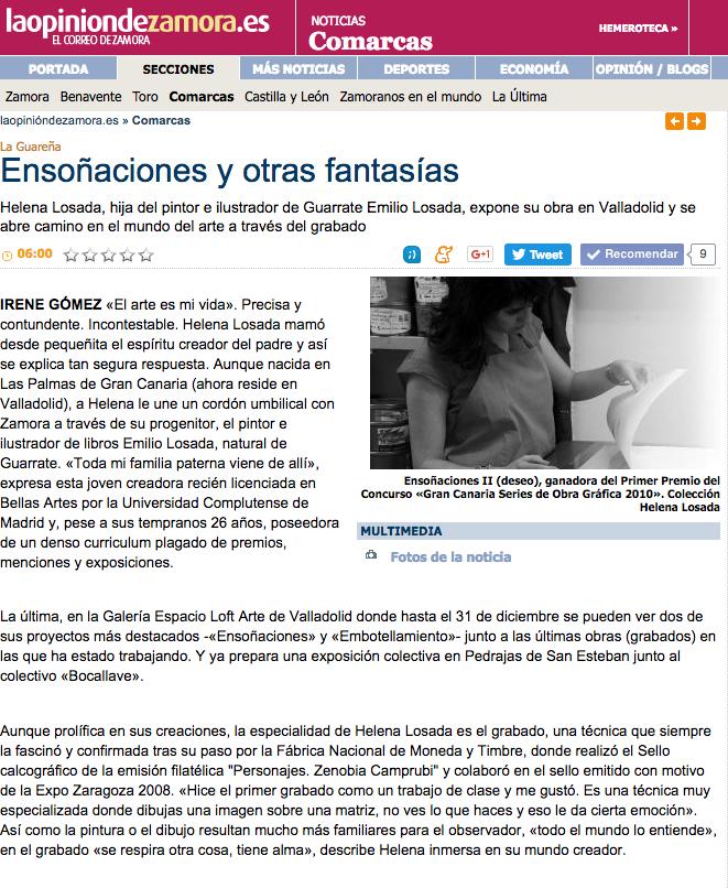 Helena losada - entrevista en el periódico La Opinión de Zamora